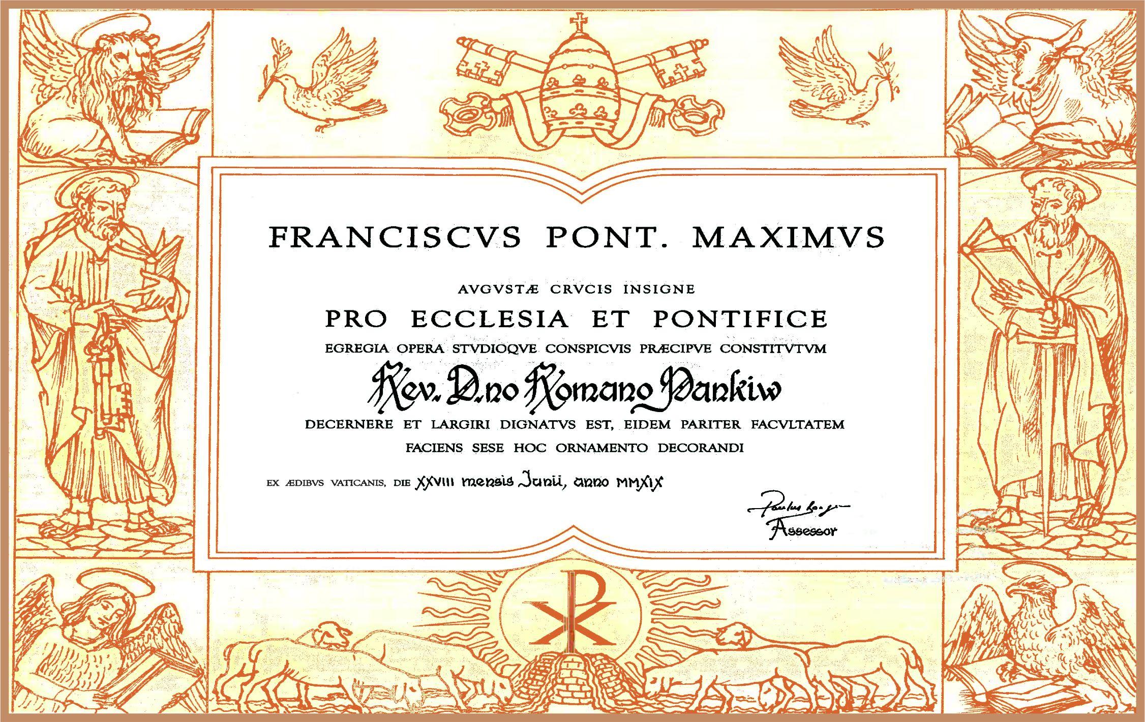 pope certificate